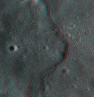 This new 3D image of the moon was created by using images of the same spot of the lunar surface taken from different angles by NASA's Lunar Reconnaissance Orbiter.