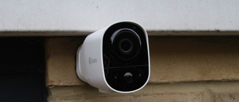 The Swann Xtreem security camera mounted on an exterior wall of a property