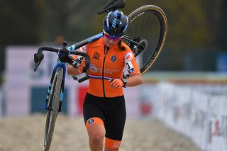 The Netherlands' Shirin van Anrooij on her way to fifth place in the under-23 women's race at the UEC Cyclo-Cross European Championships in 's-Hertogenbosch, in the Netherlands