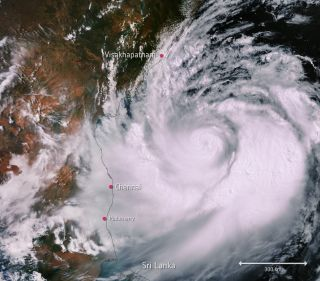In this image, captured on May 1, Cyclone Fani stretched more than 435 miles (700 kilometers) across.
