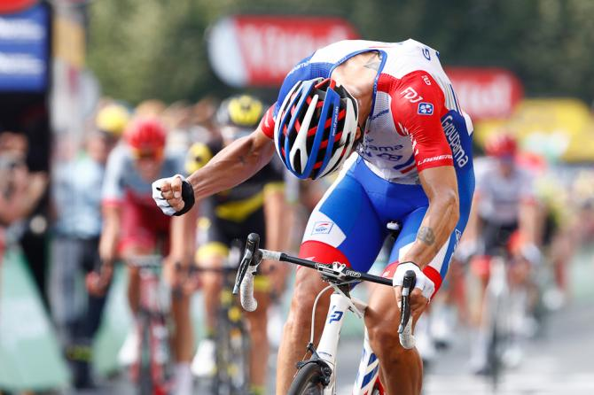 Arnaud Demare celebrates after winning stage 18 at the Tour de France