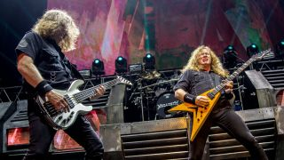 David Ellefson and Dave Mustaine performs during Megadeth concert as part of Dystopia World Tour at Luna Park on August 22, 2016 in Buenos Aires, Argentina.