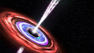 Artist's illustration showing a black hole emitting jets of fast-moving plasma above and below it, as matter swirls around in an orbiting disk.