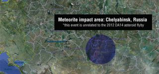 Map of the Russian meteor explosion of Feb. 15, 2013, UTC.