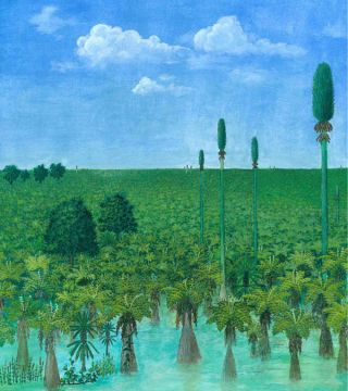Painting of Permian Forest. An artist's painting of a tropical forest before it was preserved in volcanic ash 300 million years ago in what is now Inner Mongolia.