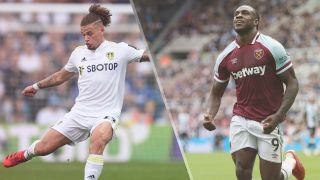Kalvin Phillips of Leeds United and Michail Antonio of West Ham United