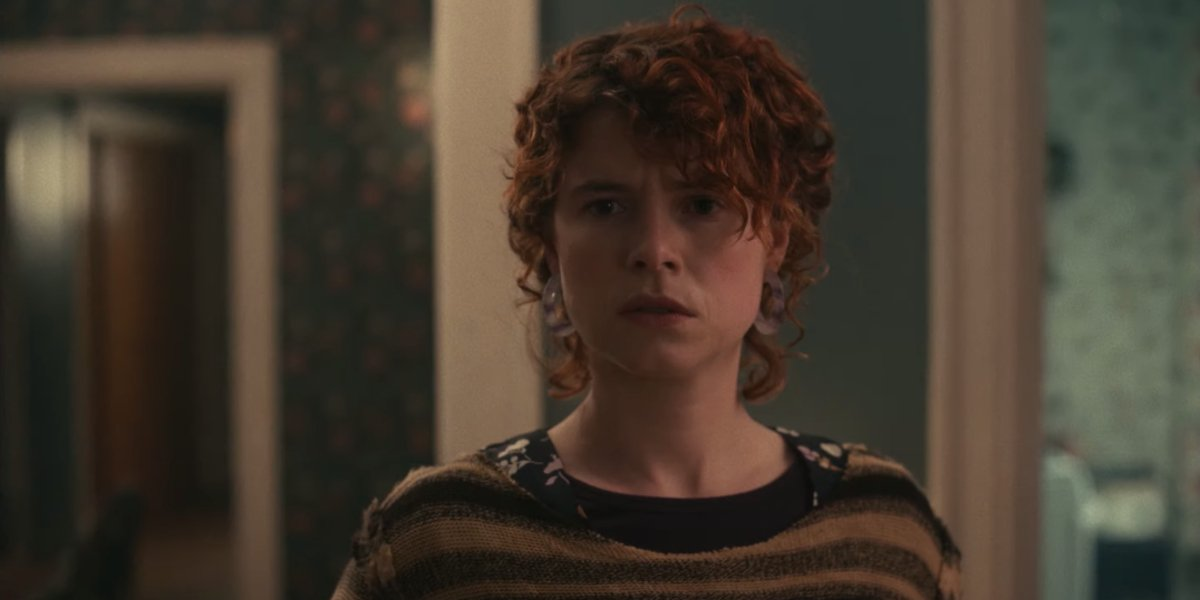 I'm Thinking of Ending Things Jessie Buckley staring at something oddly
