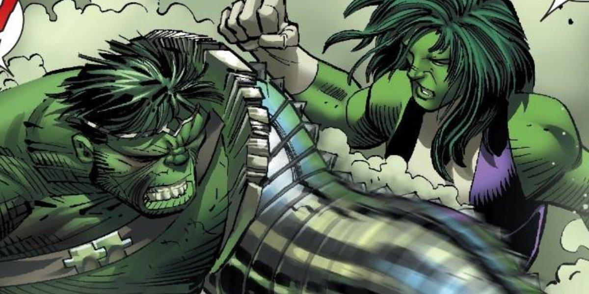 Hulk fighting She-Hulk