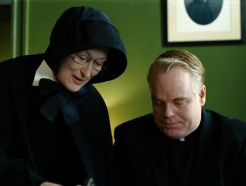 Doubt - Meryl Streep 's Sister Aloysius & Philip Seymour Hoffman's father Flynn lock horns in John Patrick Shanley's ecclesiastical drama
