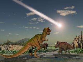 An asteroid hits earth, wiping out the dinosaurs.