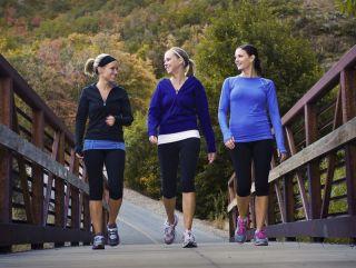 Three women walk together