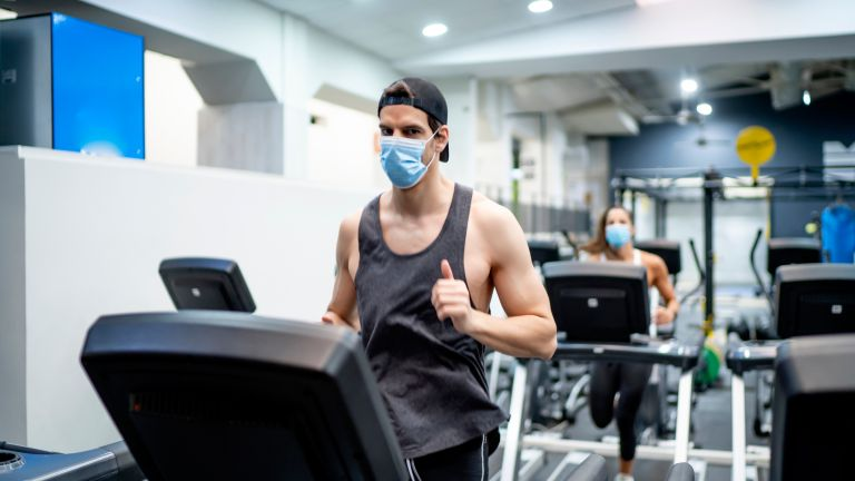 Gym treadmill with mask