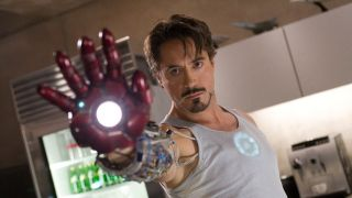 Tony Stark tests out his hand canon in the original Iron Man.