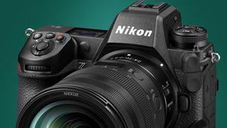 The Nikon Z9 camera on a green background