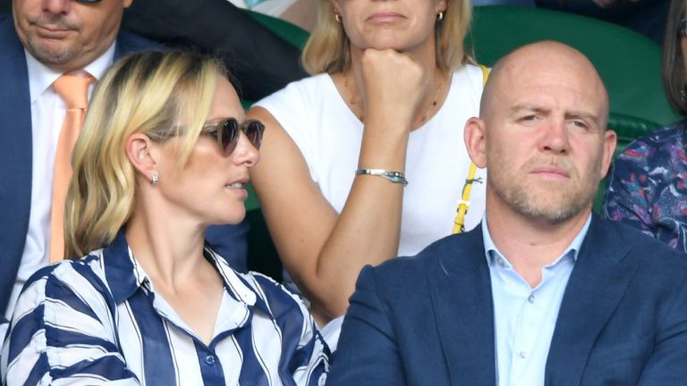 Mike Tindall and Zara Phillips attends day 9 of the Wimbledon Tennis Championships at All England Lawn Tennis and Croquet Club on July 10, 2019 in London