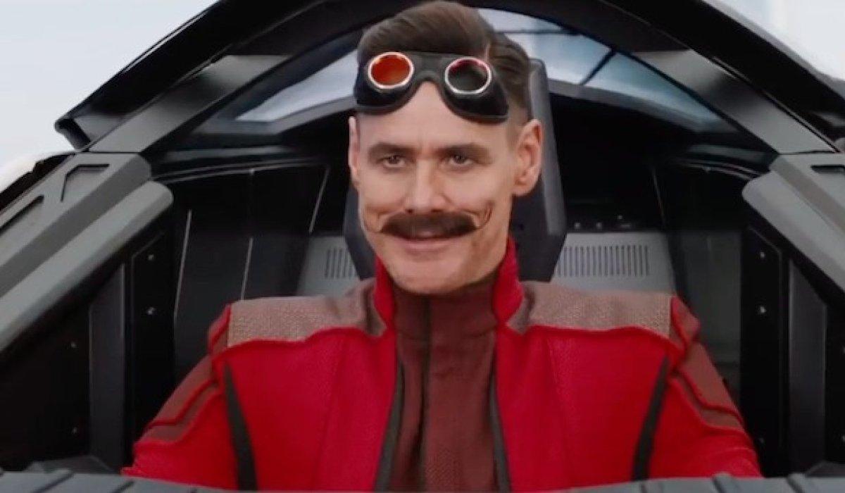 Sonic The Hedgehog Jim Carrey smirks in the cockpit