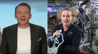 Simon Pegg videochats with Kate Rubins