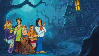 Artwork of Michael Starr, Joe Duplantier, Brann Dailor, Becca MacIntyre and Will Gould as Scooby Gang near a spooky house