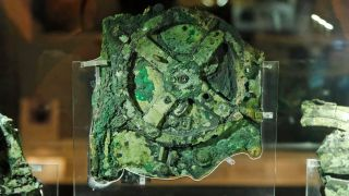 This is the largest piece of the 2,100-year-old Antikythera Mechanism, which is on display at the National Archaeological Museum in Athens, Greece.
