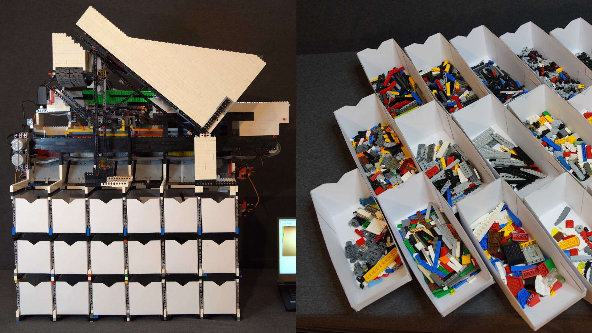 This AI controlled Lego sorting machine is what my childhood dreams were made of