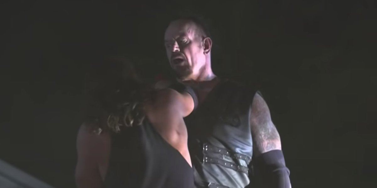 The Undertaker and A.J. Styles in the Boneyard Match