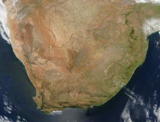an image of southern africa, taken by the MODIS satellite from space