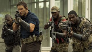 Chris Pratt, Sam Richardson and Edwin Hodge lift their guns to fight aliens in The Tomorrow War on Amazon Prime Video