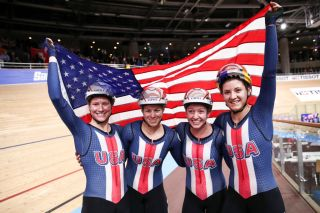 BERLIN GERMANY FEBRUARY 27 Winners US Jennifer Valente Chloe Dygert Emma White and Lily Williams celebrate after the Womens Team Pursuit Finals during day 2 of the UCI Track Cycling World Championships Berlin at Velodrom on February 27 2020 in Berlin Germany Photo by Maja HitijGetty Images
