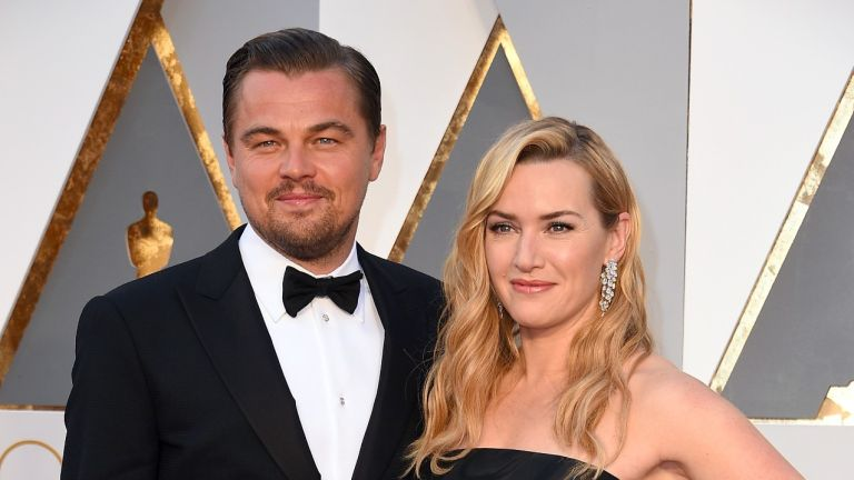 Kate Winslet and Leonardo DiCaprio attend the 88th Annual Academy Awards