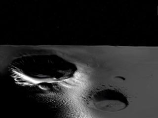 Artist's concept of water ice trapped in sunshine-shy craters on the moon.