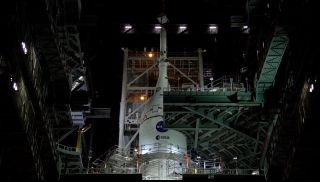 The Orion crew capsule for NASA's Artemis 1 mission is stacked atop its Space Launch System rocket at Kennedy Space Center on Oct. 20, 2021.