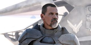 Josh Brolin as Gurney looking stoic after emerging from an airship in Dune