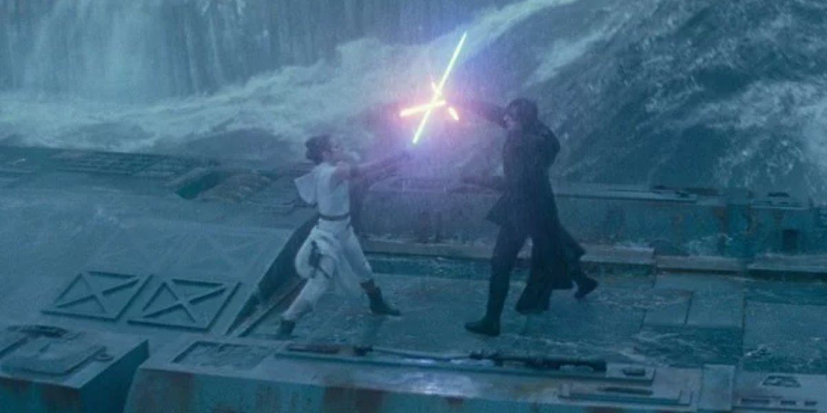 Rey and Kylo Ren's lightsaber duel in Star Wars: The Rise of Skywalker