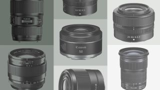 A range of camera lenses