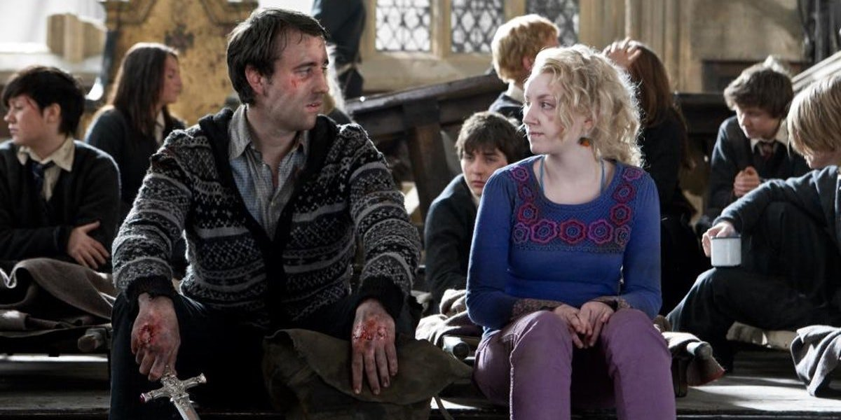 Matthew Lewis as Neville Longbottom and Evanna Lynch as Luna Lovegood in Harry Potter Deathly Hallows