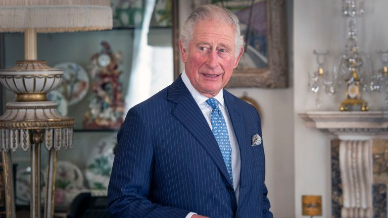 Prince Charles, Prince of Wales seen during his meeting with Iraqi Prime Minister Mustafa Al-Kadhimi at Clarence House on October 22, 2020 in London