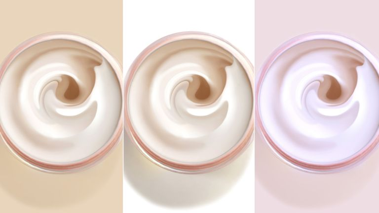 three pots of skincare cream