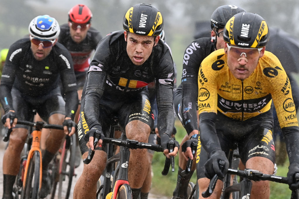 Belgian Wout Van Aert of Team JumboVisma pictured in action during the men elite race of the ParisRoubaix cycling event 2577km from Compiegne to Roubaix France on Sunday 03 October 2021 BELGA PHOTO DAVID STOCKMAN Photo by DAVID STOCKMANBELGA MAGAFP via Getty Images