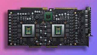 AMD Radeon Pro W6800X Duo graphics card on gradient background