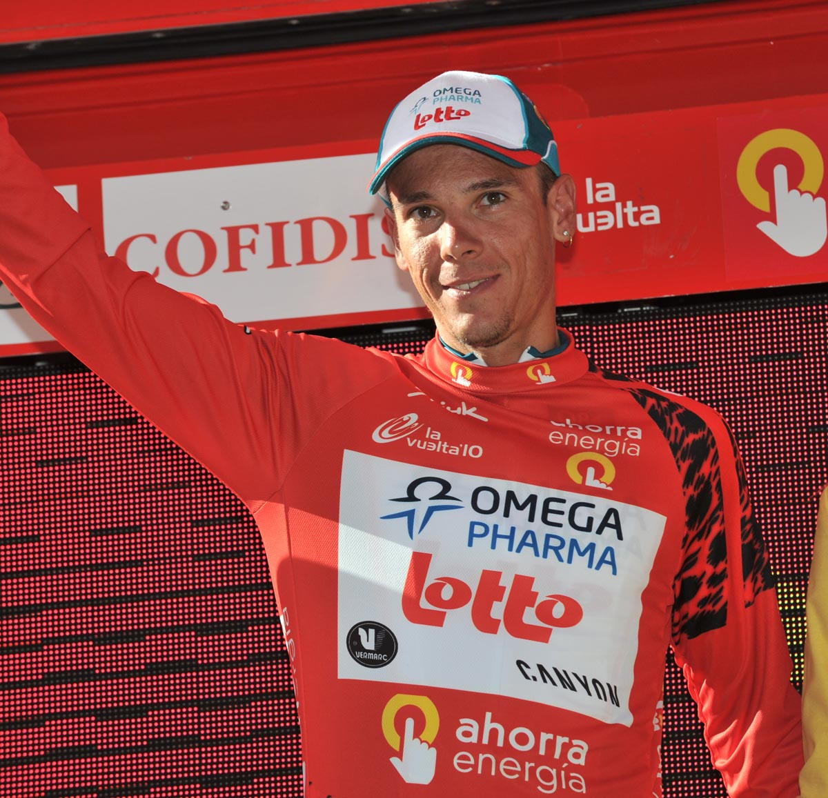 Philippe Gilbert on podium, Vuelta a Espana 2010, stage five