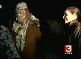 John Peskey, a.k.a. Bigfoot, with winning hunter Catherine Dobson at the 22nd annual Elliston Bigfoot Hunt.