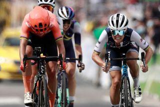 Trek-Segafredo's Lizzie Deignan (right) beats Marianne Vos (CCC-Liv) to win the 2020 edition of La Course by Le Tour de France