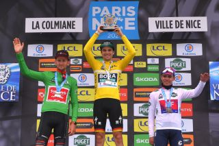 VALDEBLORE LA COLMIANE, FRANCE - MARCH 14: Podium / Tiesj Benoot of Belgium and Team Sunweb Green Sprint Jersey / Maximilian Schachmann of Germany and Team Bora - Hansgrohe Yellow Leader Jersey / Sergio Andres Higuita of Colombia and Team Ef Pro Cycling White Best Young Jersey / Celebration / Trophy / during the 78th Paris - Nice 2020 - Stage 7 a 166,5km stage from Nice to Valdeblore La Colmiane 1500m / Paris - Nice 2020 final stage as part of the fight against the spread of the Coronavirus / #ParisNice / @parisnicecourse / PN / on March 14, 2020 in Valdeblore La Colmiane, France. (Photo by Luc Claessen/Getty Images)