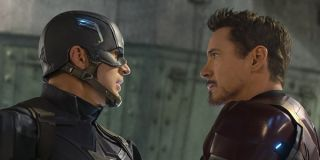 Captain America and Iron Man staring down each other in Captain America: Civil War