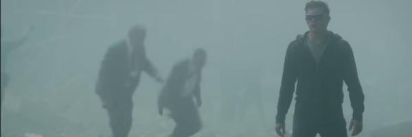 Dark Phoenix Cyclops wanders through the dust of the U.N.