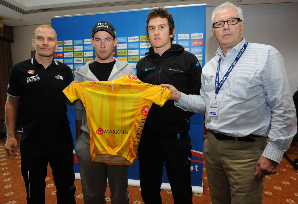 Mark Cavendish, Roger Hammond, Geraint Thomas and Mick Bennett, Tour of Britain 2011, press conference/warm-up