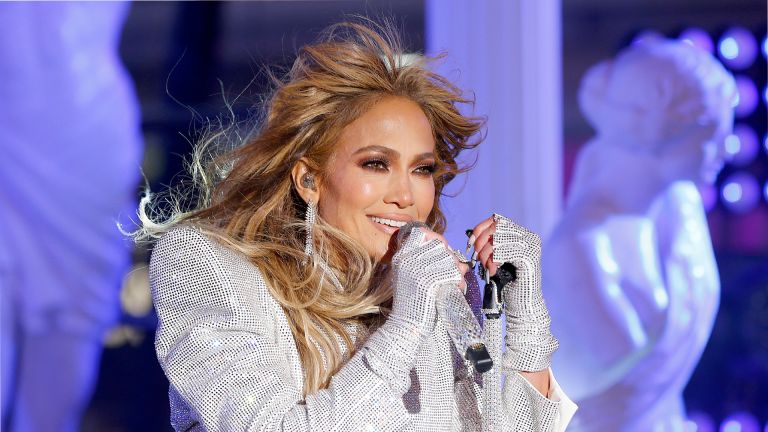 NEW YORK, NEW YORK - DECEMBER 31: Jennifer Lopez performs live from Times Square during 2021 New Year's Eve celebrations on December 31, 2020 in New York City. (Photo by Gary Hershorn-Pool/Getty Images)