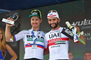 Peter Sagan and Fernando Gaviria on the stage 4 podium in San Juan