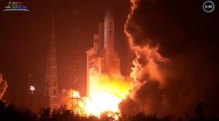 The rocket and two satellites for SES and the French military weighed a combined 11.2 tons.