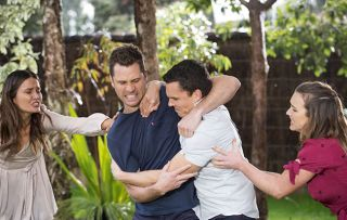Fight! Jack and Mark come to blows over Gabe in Neighbours